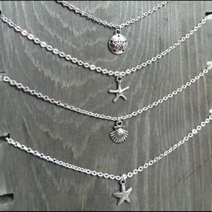 Silver Tone Beach Shell Starfish Sand Dollar Charm